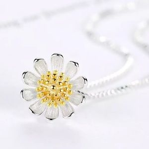 925 Sterling Silver Yellow Summer Flower Necklace